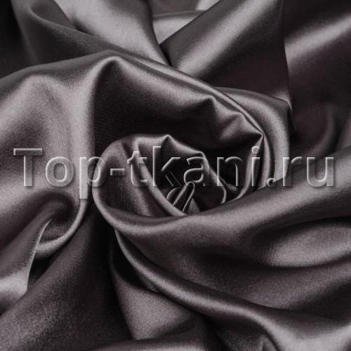 Лоскут Плательный атлас стрейч - Графитовый (60 см * 150 см)