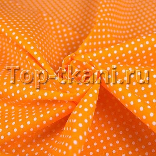 Поплин детский - Мелкий горох на оранжевом