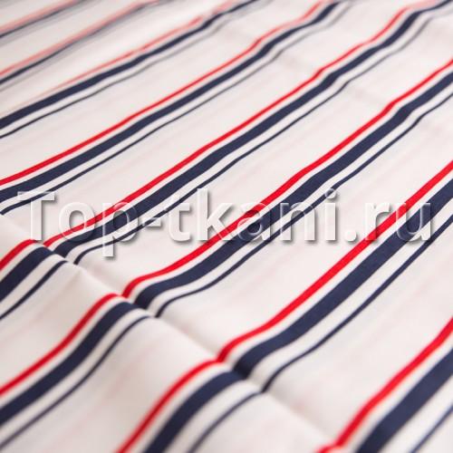 Поплин набивной - Красно-синяя полоска (ширина 220 см)