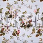 Рогожка - Цветы на белом (ширина 150 см)