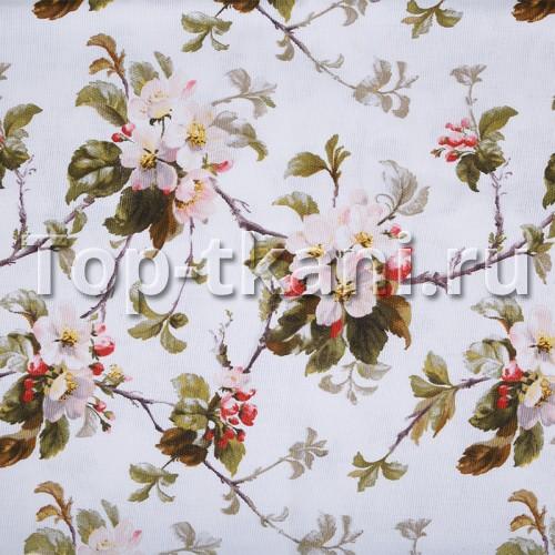 Лоскут Рогожка - Цветы на белом - ЕСТЬ ДЕФЕКТ - ПЕЧАТЬ НА КРОМКЕ, СМ ФОТО (70 см * 150 см)
