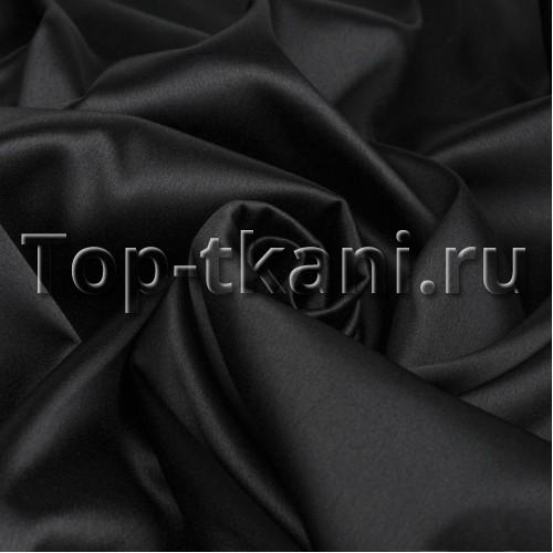 Русский атлас стрейч матовый - Черный (ширина 150 см)