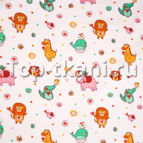 Лоскут Ситец детский набивной - Зоопарк, мелкий рисунок (100 см * 95 см)