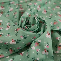Ситец набивной - Цветочки на зеленом