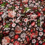 Ситец набивной - Цветочная россыпь (красный) - ширина 80 см