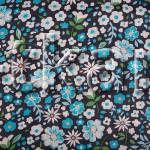 Ситец набивной - Цветочная россыпь (синий) - ширина 80 см