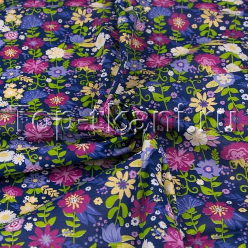 Ситец набивной - Цветочные луга (на фиолетово-синем) (ширина 80 см)