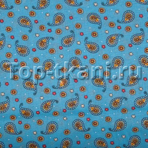 Лоскут Ситец набивной - Восточные огурцы на голубом (65 см * 80 см)