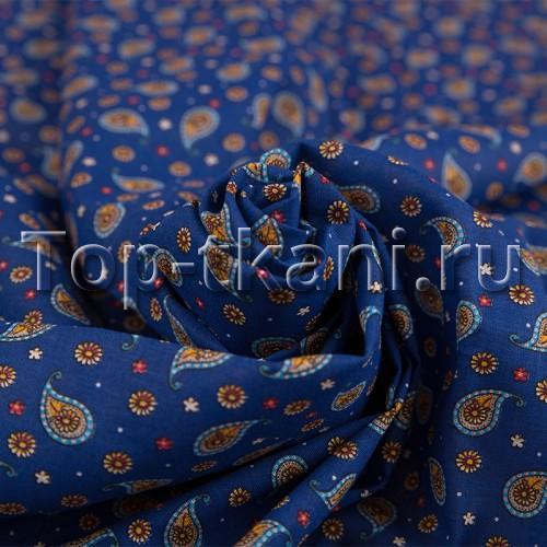 Ситец набивной - Восточные огурцы на синем (рисунок мелкий, ширина 80 см)