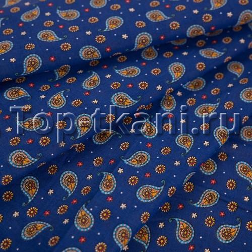 Лоскут Ситец набивной - Восточные огурцы на синем (30 см * 80 см)