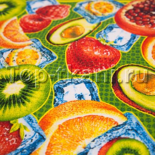 Вафельное полотно - Джуси (с рисунком фрукты, ягоды, киви, клубника, гранат, малина, апельсин, авокадо, ширина 50 см)