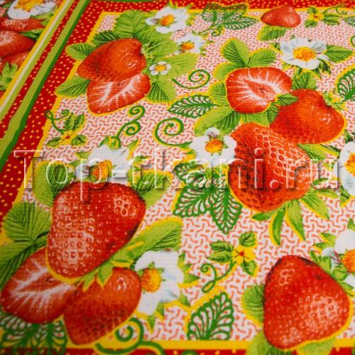 Вафельное полотно - Клубничное настроение (с рисунком клубника, ягоды, ширина 50 см)