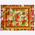 Вафельное полотно - Клубничное настроение (цвет мультиколор, красный, с рисунком клубника, ягоды, ширина 50 см)