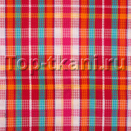 Лоскут Вафельное полотно - Клубничная шотландка (50 см * 95 см)
