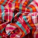 Вафельное полотно - Клубничная шотландка  (цвет мультиколор, красный, розовый, с рисунком средняя клетка, ширина 95 см)