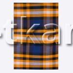 Вафельное полотно - Полосатая вафелька (цвет синий, оранжевый(желтый), белый, рисунок крупная клетка, ширина 95 см)