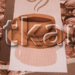 Вафельное полотно - Утренний кофе (цвет шоколадный, какао,коричневый, с рисунком кофейное зерно, чашка, ширина 50 см)